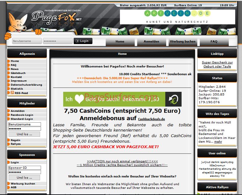 Pagefox Main Page